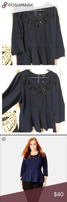 City Chic Peplum Top Long Sleeve Peplum Top. Dark Blue with black stitching near the neck line. Brand new with tags. City Chic Tops