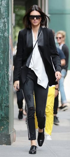 Kendall Jenner in a Blk Dnm Jacket and black Etienne Marcel jeans paired with black oxfords