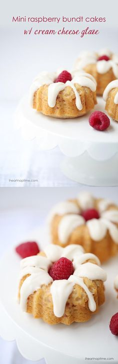 Mini raspberry bundt cakes with cream cheese glaze -these super soft soft and full of the most delicious flavors! A must make recipe! This would make a nice Easter time dessert Mini Desserts, Just Desserts, Delicious Desserts, Yummy Food, Cupcakes, Cupcake Recipes, Dessert Recipes, Bunt Cakes, Mini Bundt Cake