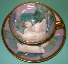 Ambrosius Dresden lamm Lamb sign Ander gold Demitasse tea coffee cup saucer duo