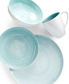 Mikasa Savona Teal Place Setting - Casual Dinnerware - Dining & Entertaining - Macy's For the Home,Kitchen, Teal Dinnerware, Mikasa Dinnerware, Casual Dinnerware Sets, Porcelain Dinnerware, Restauration Hardware, D House, Kitchen Dishes, Kitchen Plates Set, Kitchen Cupboard