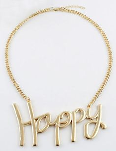 Gold Happy Chain Necklace - Sheinside.com