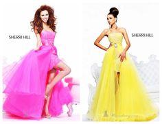 pink and yellow sherri hill dresses<3
