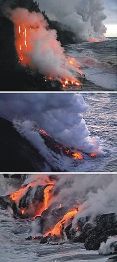 Volcanic lava boils water dry; pics from Piton de la Fournaise Volcano, Indian Ocean (top), Stromboli, Italy (middle), and Kilauea, Hawaii (bottom)