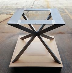 Modern Table X Base 28 H x 30 W1 x 30 W2 - Made from Steel Tubing - 2 1/2 x 1 and 1/4 x 5 flat steel. - Finish - Raw steel, Clear coated, Black flat.