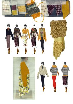 Fabric swatches, illustrations, testing how fabric looks against photograph of models Fashion Illustration Sketches, Fashion Sketchbook, Fashion Sketches, Fashion Words, Fashion Line, Fashion Art, Fashion Design Degree, Fashion Design Portfolio, Book Design Layout