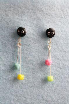 Soot Sprite / Ball Stud Earrings with Dangling Candies by SuzuShoe, $10.00