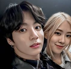 Kpop Couples, Cute Couples, Blackpink And Bts, Bts Jungkook, Kos, Kpop Girls, Bangs, Photoshop, Fan Art
