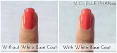 Use a base coat of white nail polish to make your nail colour POP!