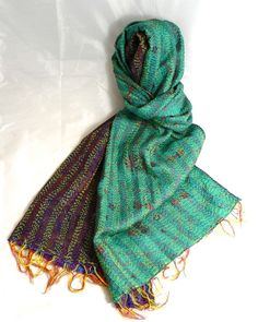 INDIAN KANTHA 100% SILK NEW VINTAGE SCARF Sea Green and Blue No 113