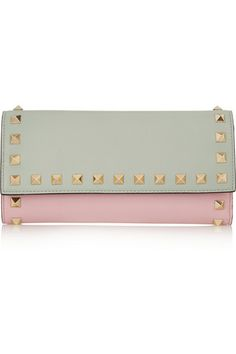 Valentino Rockstud color-block leather continental wallet #Valentino