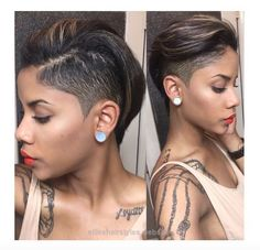 Unbelievable www.shorthaircuts… Cute designs on curly hair, ponytail styles, with & without weave, various box braids on African American black women. Natural undercut ideas and styles. Quick & easy .. #africanamericanbraids