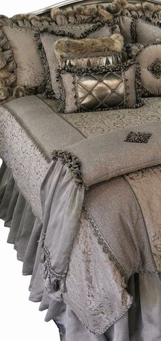 Designer Luxury Bedding Versailles - Soft Warm Gray and Tan Damask is combined with Metallic Linen, Smokey Pin Stiped Organza and a Faux Croc Leather for a look that is Subtle and Romantic. The Versailles Collection is rich with Details!