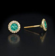Emerald Halo Stud Earrings Diamond Studs Yellow Gold Green