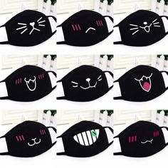 Harajuku Style Cotton Mouth Masks Flu Dust Face Mouth Muffles Masks with Cute Design for Girls,Kids Outdoors (For All Seasons) Easy Face Masks, Diy Face Mask, Face Mask Price, Kawaii Faces, Cartoon Faces, Cartoon Drawings, Mouth Mask, Creation Couture, Harajuku Fashion