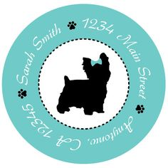 Yorkie Personalized Dog Silhouette Address Labels – Set of 20, 1.5-inch Stickers by NestedExpressions, $7.50