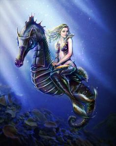 Mermaid by ~mcguinnessjohn on deviantART... look a seahorse , the mermaid just happens to be riding it. Pretty cool , huh Bear ?