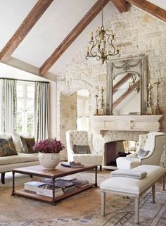 Beautiful Farmhouse Living Room Ideas! Find some of the best farmhouse themed living room decorations and designs that you can use for inspiration. We have modern farm home living rooms and more. Living Room Paint, Living Room With Fireplace, Living Room Decor, French Country Living Room, Shabby Chic Living Room, Country French, Interior Design Styles Quiz, Living Room New York, Beautiful Living Rooms