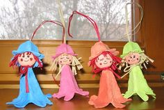 egg carton fairies...I could totally envision these as little white Christmas Angels with coffee filter wings for the tree!!