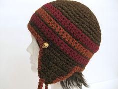 25 Off SaleEar Flap Beanie Crocheted in Brown by RoseJasmine, $15.00