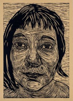 "Woodcut piece by Jessi Hardesty - ""Weaver"""