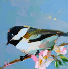 Chickadee no. 422 original bird oil painting by by prattcreekart