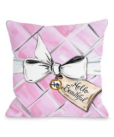 'Hello Beautiful' Quilted Throw Pillow
