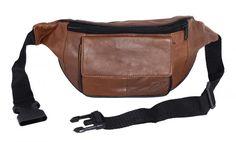 Bauchtasche mit Fronttasche Klettverschluss - Nappa Leder braun