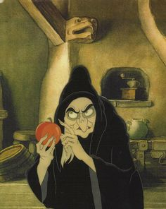 Witch with Poison Apple, Snow White  the Seven Dwarfs, 1937 Walt Disney animation movie enchanting fairytale