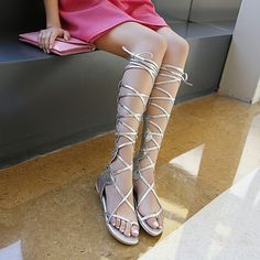 Buy High-top Boots Cool Summer Lace Straps with Flat Roman Sandals at Wish - Shopping Made Fun Roman Sandals, High Top Boots, Wish Shopping, Cool Stuff, Stuff To Buy, High Tops, Lace Up, Flats, Shoes