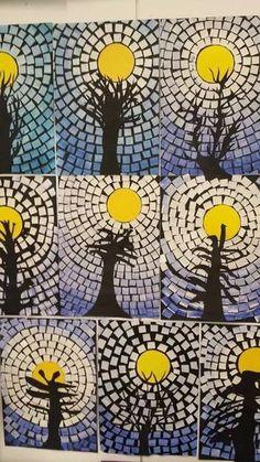 Risultati immagini per hiver arts visuels Mosaic Crafts, Paper Mosaic, Mosaic Art, Winter Art Projects, School Art Projects, Kids Crafts, Atelier D Art, 6th Grade Art, Creation Art