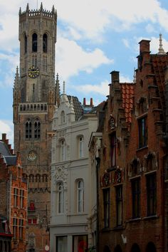 The Belfry of Bruges, Belgium. Originally built in 1240, and destroyed in a fire in 1280.