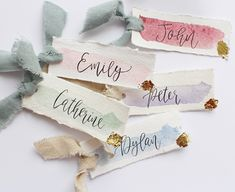 Modern Calligraphy Place Cards - Handmade Paper Table Cards - Watercolour Escort Cards - Wedding Stationery - Gold Leaf Ribbon Name Cards Calligraphy Cards, Modern Calligraphy, Calligraphy Wedding Place Cards, Table Name Cards, Bussiness Card, Paper Table, Bridal Table, Wedding Cards, Name Place Cards Wedding