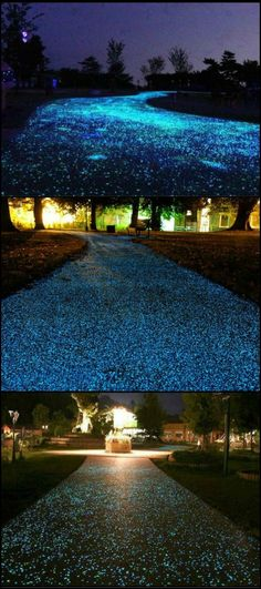 Want to have a different-looking driveway or path from the rest of the neighbourhood? It's possible with glow stones!  http://ideas2live4.com/2015/09/30/glowing-driveways-and-paths/  A glow in the dark pathway is great for providing outdoor lighting at night, and it can last from two hours up to 12 hours.  Do you see your own home with a driveway and paths that twinkle like fairy lights every night?