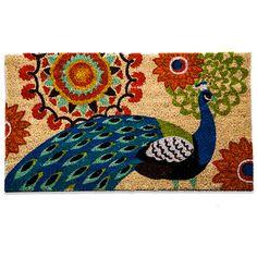 Floral Peacock Coir Doormat - BedBathandBeyond.com