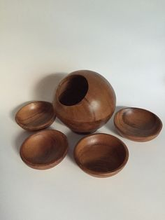 Mid Century Wooden Orb Nut Bowl with Four by IgnatiusGreyVintage