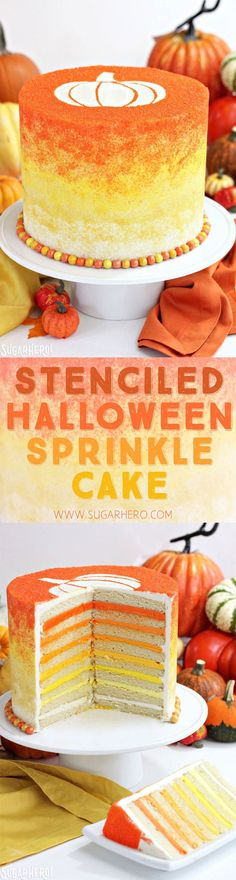 Stenciled Halloween Sprinkle Cake - a cute Halloween cake with a stenciled shape and ombre sprinkles! Halloween Desserts, Halloween Cupcakes, Halloween Food For Party, Halloween Treats, Spooky Treats, Halloween Foods, Homemade Halloween, Happy Halloween, Halloween Decorations