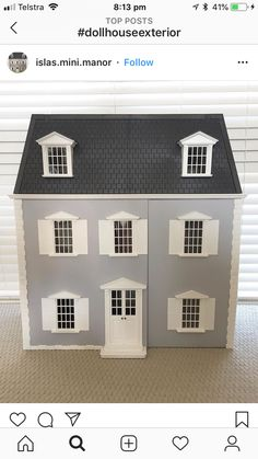 Doll Houses, Garage Doors, Exterior, Dolls, Mansions, House Styles, Outdoor Decor, Home Decor, Little Cottages