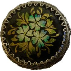 Russian Black lacquer Three Blue Flowers Hand painted and Made Floral Brooch Pin 1-1/8""