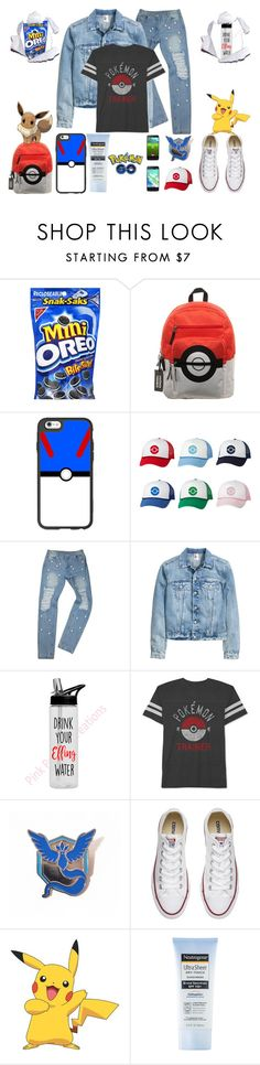 """""""pokémon hunting"""" by jeesxx ❤ liked on Polyvore featuring Bioworld, Casetify, JEM, Converse, York Wallcoverings and Neutrogena"""