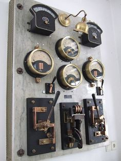 File:Old electrical measuring instruments on a marble board, Electrotechnical Museum of Hungary. Steampunk Skirt, Steampunk House, Steampunk Design, Electrical Panel Wiring, Mad Scientist Halloween, Steampunk Artwork, Marble Board, Industrial Machinery, Industrial Design Furniture