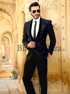 Glamorous black color shawl lapel #Blazer invented on jacquard with pocket flap and central button. Item Code: TSP2578 http://www.bharatplaza.com/new-arrivals/mens-suits.html