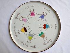 plat à tarte blanc personnalisé avec la famille représentée en porcelaine peinte. Personnages peints multicolores. Saisissez la liste des prénoms etsexe des personnages à représenter.  Tous les personnages sont représentés de la même taille quelque soit leur âge pour éviter un effet de plat déformé. Maximum de 8 personnages représentés (Jusqu'à 8 prénoms)