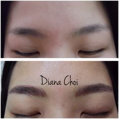 She already has a nice brows. Just wanted to keep it darker than what she has right now. so she doesn't need to put any make up on her brows after. Semipermanent eyebrows tattoo. It's the newest style of eyebrows tattoo calls 3D tattoo/ hair stroke tattoo.  Korean style eyebrows/ covered customer's old eyebrows tattoo