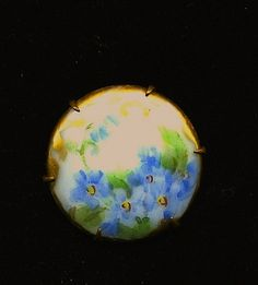 antique victorian hand painted porcelain brooch