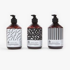 The use of different patterns for the label design and packaging on these soap pumps is very cool.