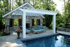 Building Facade, White Pergola Pergola and Patio Cover Hoffman Landscapes Wilton, CT