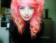 Pink and peach scene hair Emo Scene Hair, Emo Hair, Peach Hair, Pink Hair, Dye My Hair, Your Hair, Alternative Hair, Great Hair, Awesome Hair