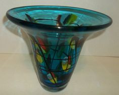 Turquoise Blue Vase With Flowers Black Lines Flared Top Rim Heavy Glass