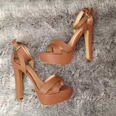 Colin Stuart platform sandals Colin Stuart platform sandals. Size 8. Brand new in box with original packaging. 5.5 inch heel, 1.5 inch platform. Box says color is Rose, but shoes appear to be a rosy tan/brown. Super cute! Colin Stuart Shoes